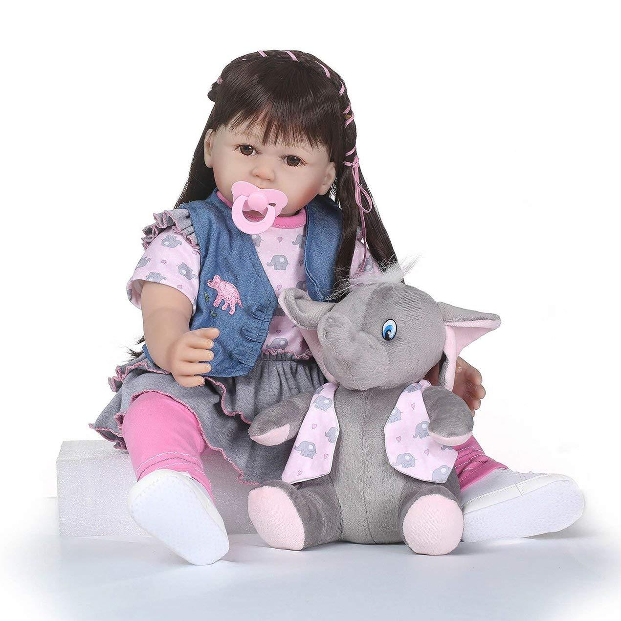 Dooret Cuerpo de Silicona Suave Realista simulado bebé Vestir Larga Tela de Pelo muñeca de niña