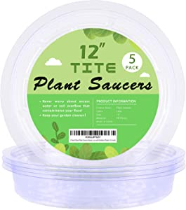 5 Pack Clear Plant Saucer Heavy Duty Sturdy Drip Trays for Indoor and Outdoor Plants (12 inch)