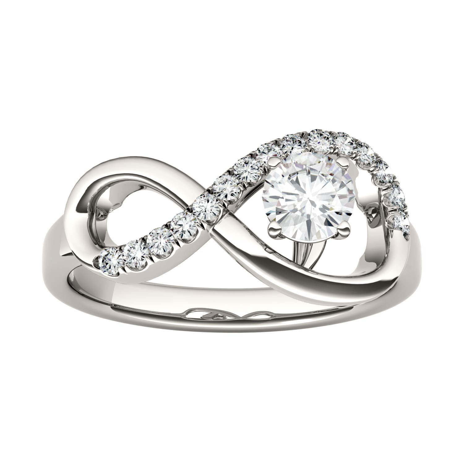 Forever Classic Infinity 4.5mm Round Moissanite Ring-size 8, 0.50cttw DEW By Charles & Colvard
