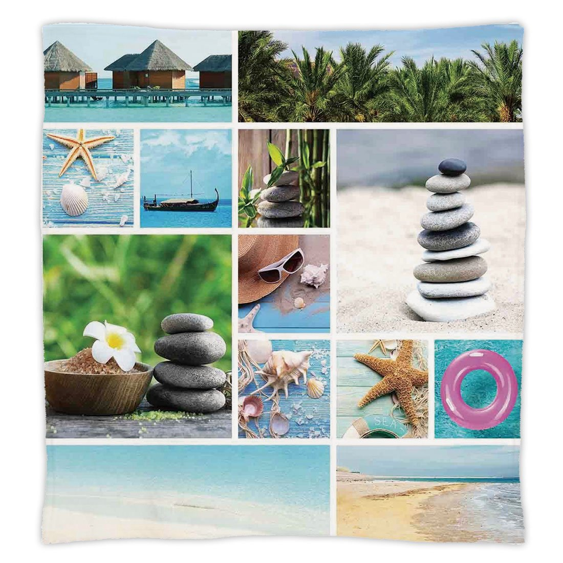 iPrint Super Soft Throw Blanket Custom Design Cozy Fleece Blanket,Spa,Collage of Spa Composition with Tropical Sandy Beach Ocean Rock Views Relax Rest Image,Multicolor,Perfect for Couch Sofa or Bed