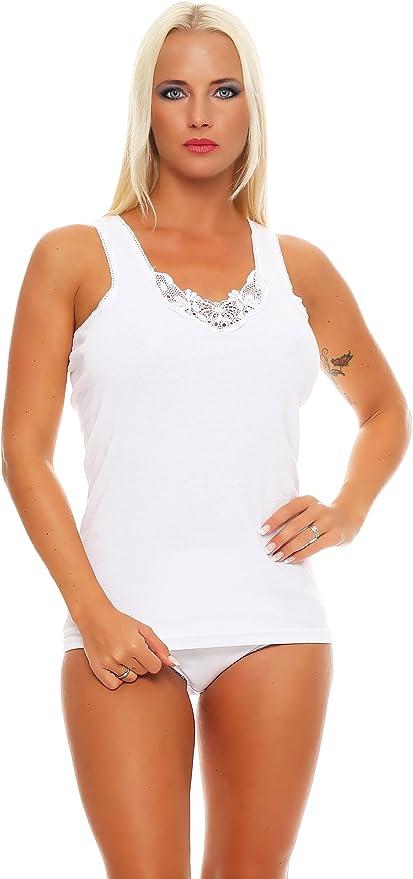 6 Camisetas Interiores para Mujer con Tirantes Anchos Color Blanco ...