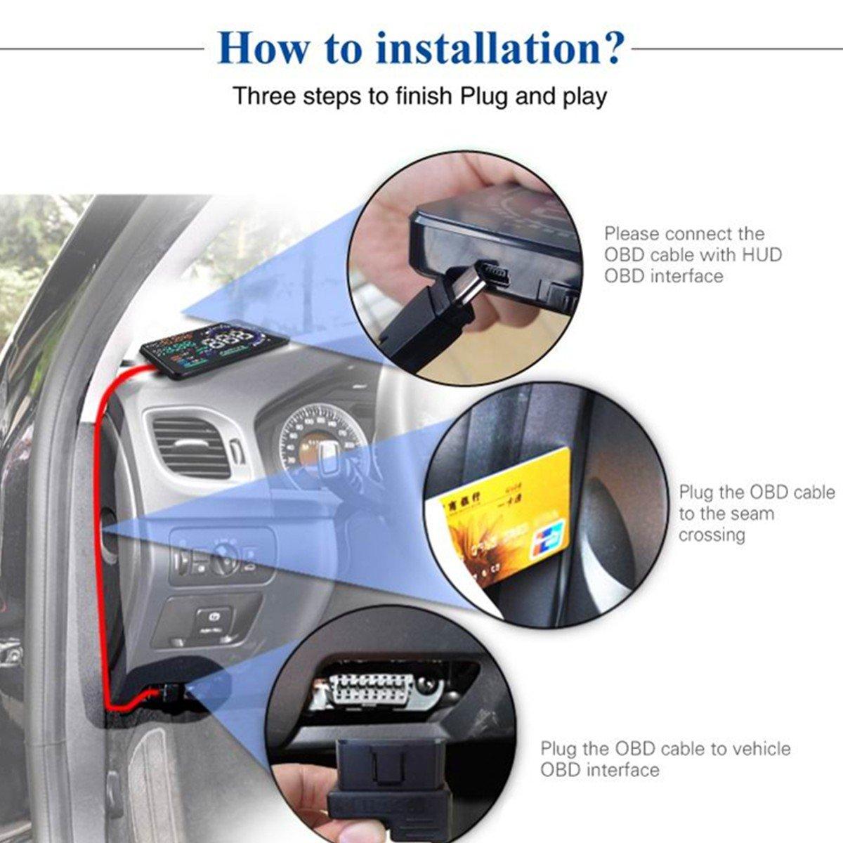 YICOTA 5.5 Original High Definition Car HUD Head-Up Display Advanced Windshield LED Projector Fit for OBD II EOBD System Model Cars A8 EA1863