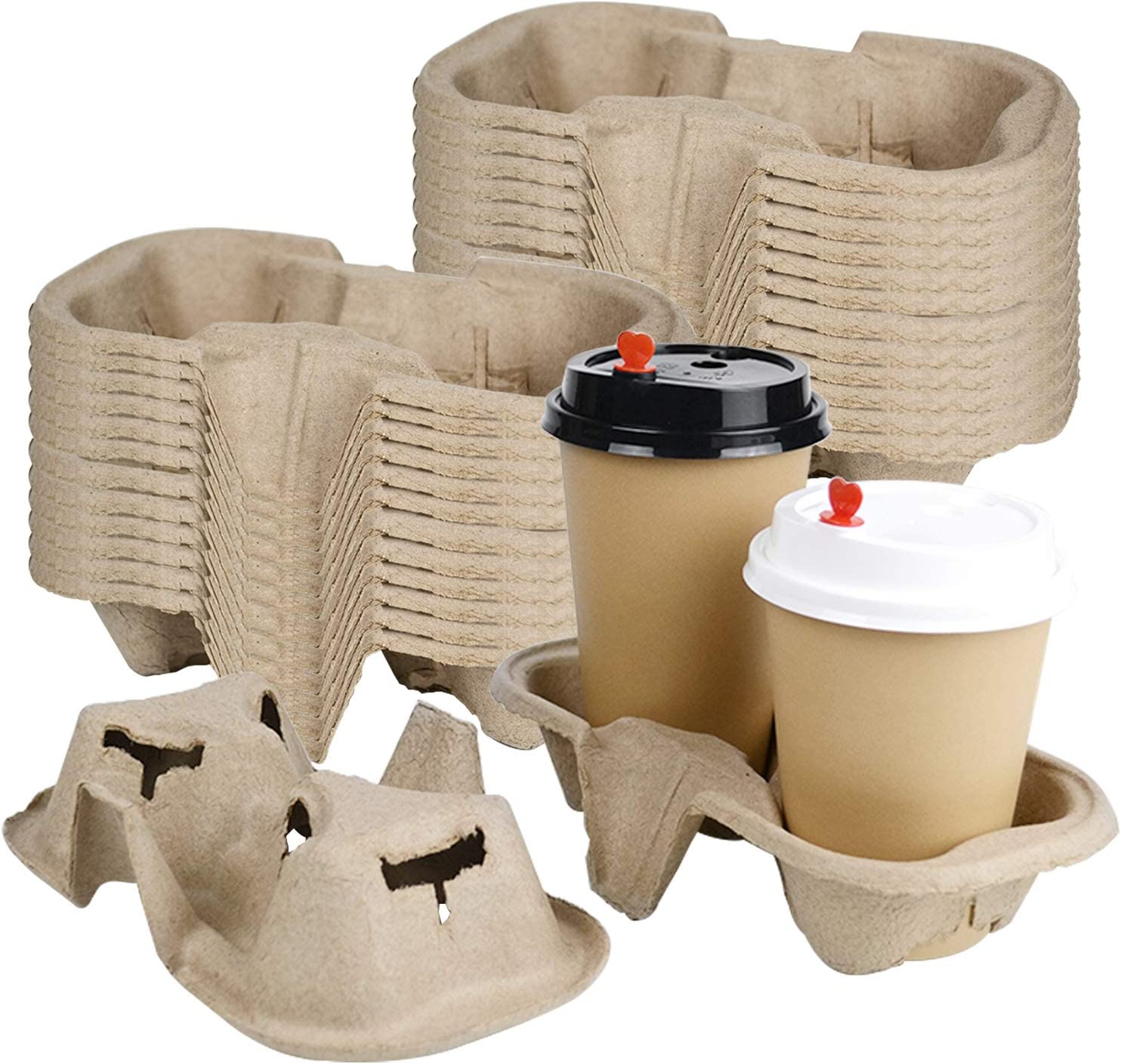 25 Pcs 2 Cups Biodegradable Drink Carriers, Lainrrew Compostable Drink Carry Trays Cup Holders for Hot & Cold Drinks, Durable Molded Coffee Carry Tray for Food Delivery Service