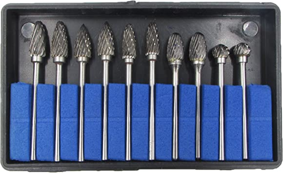 10pcs//Set Tungsten Steel Carbide Burrs Die Grinder Drill Bits Rotary Multi Tools