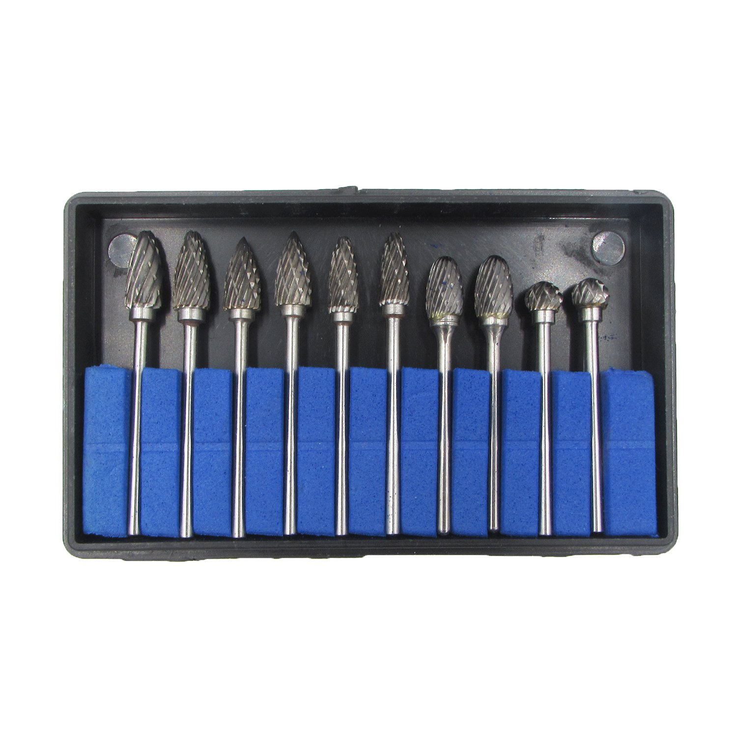 10 Pcs Tungsten Carbide Rotary Burr SET 1//10 Shank for Rotary Drill Die Grinder Carving Tool Set by Pwhite C060GX