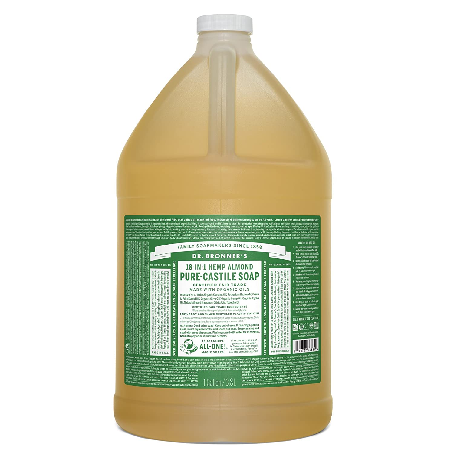 Dr. Bronner's Pure-Castile Liquid Soap – Almond, 1 Gallon Everready First Aid 018787761656