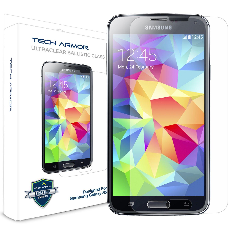 samsung galaxy s5. samsung galaxy s5 glass screen protector, tech armor premium ballistic [1-pack]: amazon.ca: cell phones \u0026 accessories