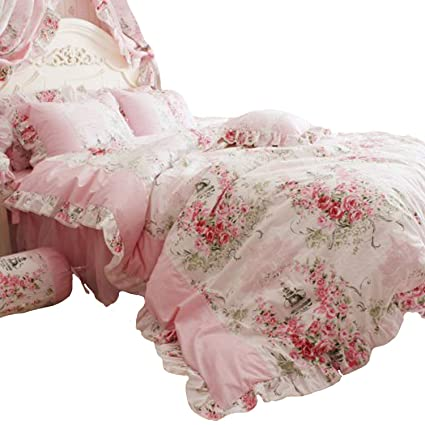 da603ece1c Amazon.com: FADFAY Home Textile Pink Rose Floral Print Duvet Cover Bedding  Set For Girls 4 Pieces Queen Size: Kitchen & Dining