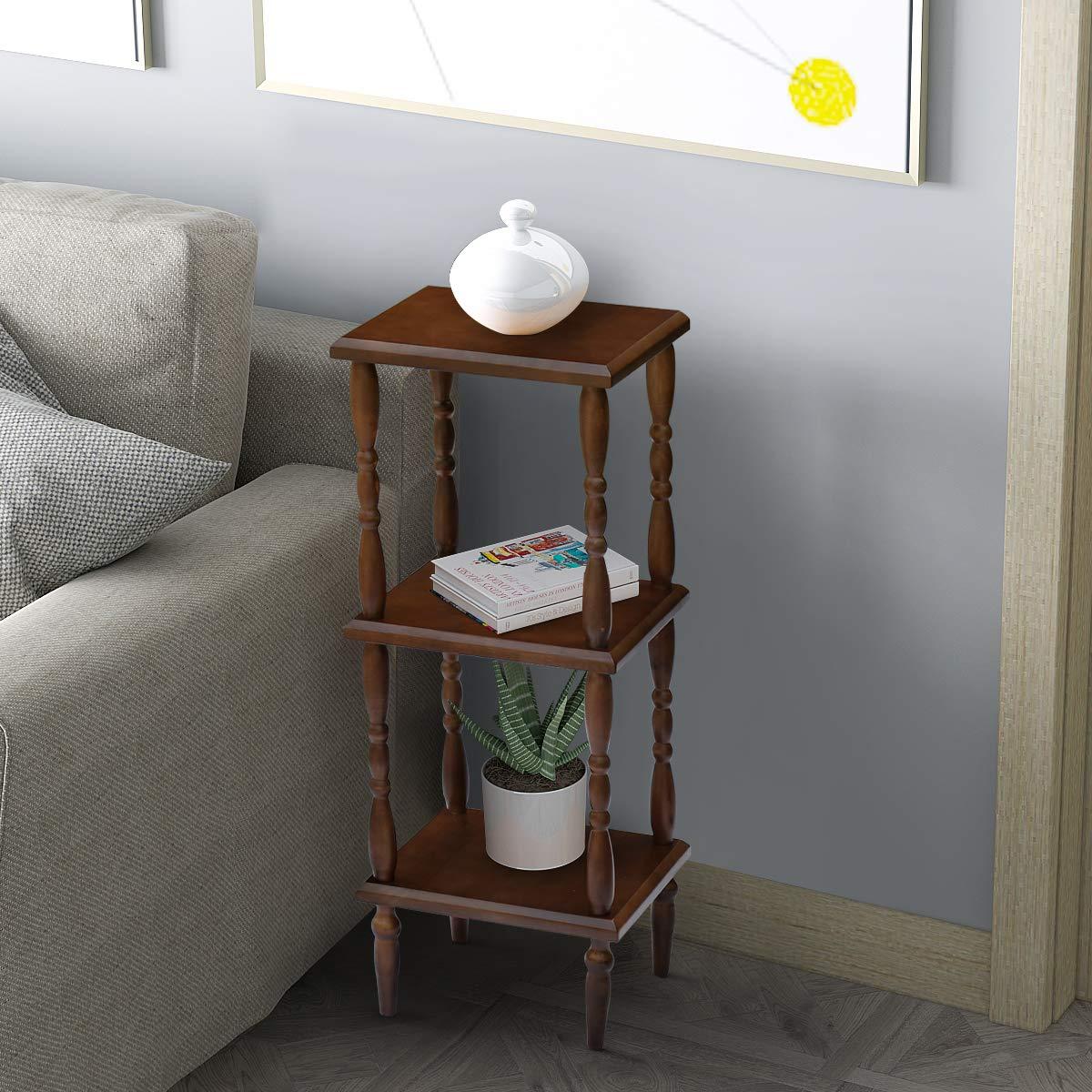 Vlush Narrow Shelving Unit,3-Tier Free Standing Storage Shelf Units Utility Corner Display Rack for Livingroom Kitchen Bedroom Balcony-100% Rubber Wood,Square
