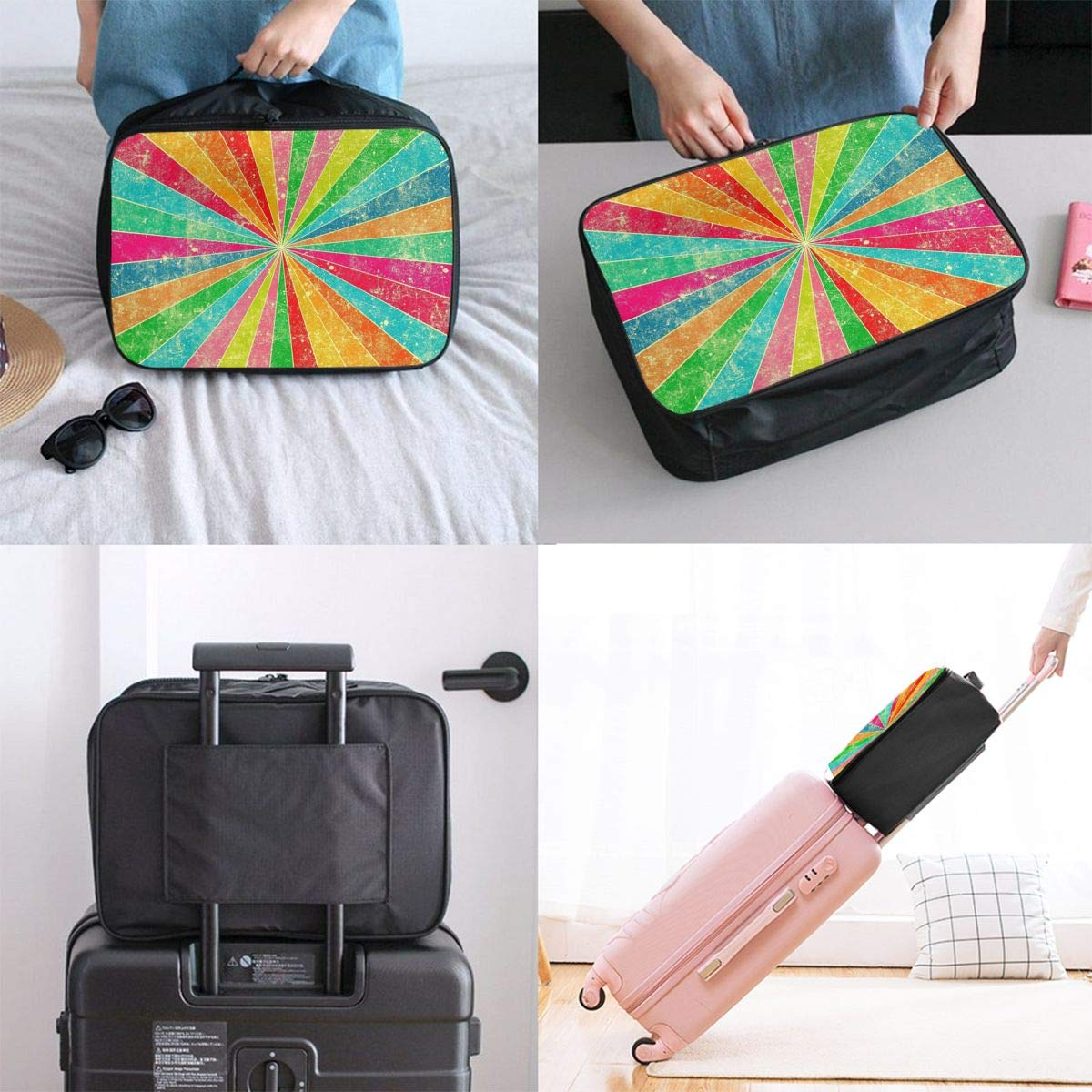 Travel Luggage Duffle Bag Lightweight Portable Handbag Rainbow Stripes Large Capacity Waterproof Foldable Storage Tote