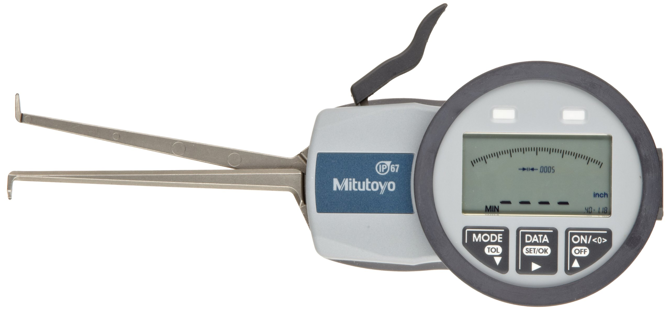 Mitutoyo 209-552 Caliper Gauge, Inch/Metric, Pointed Jaw, 0.39-1.18'' Range, +/-0.0015'' Accuracy, 0.0005'' Resolution, Meets IP63/IP67 Specifications