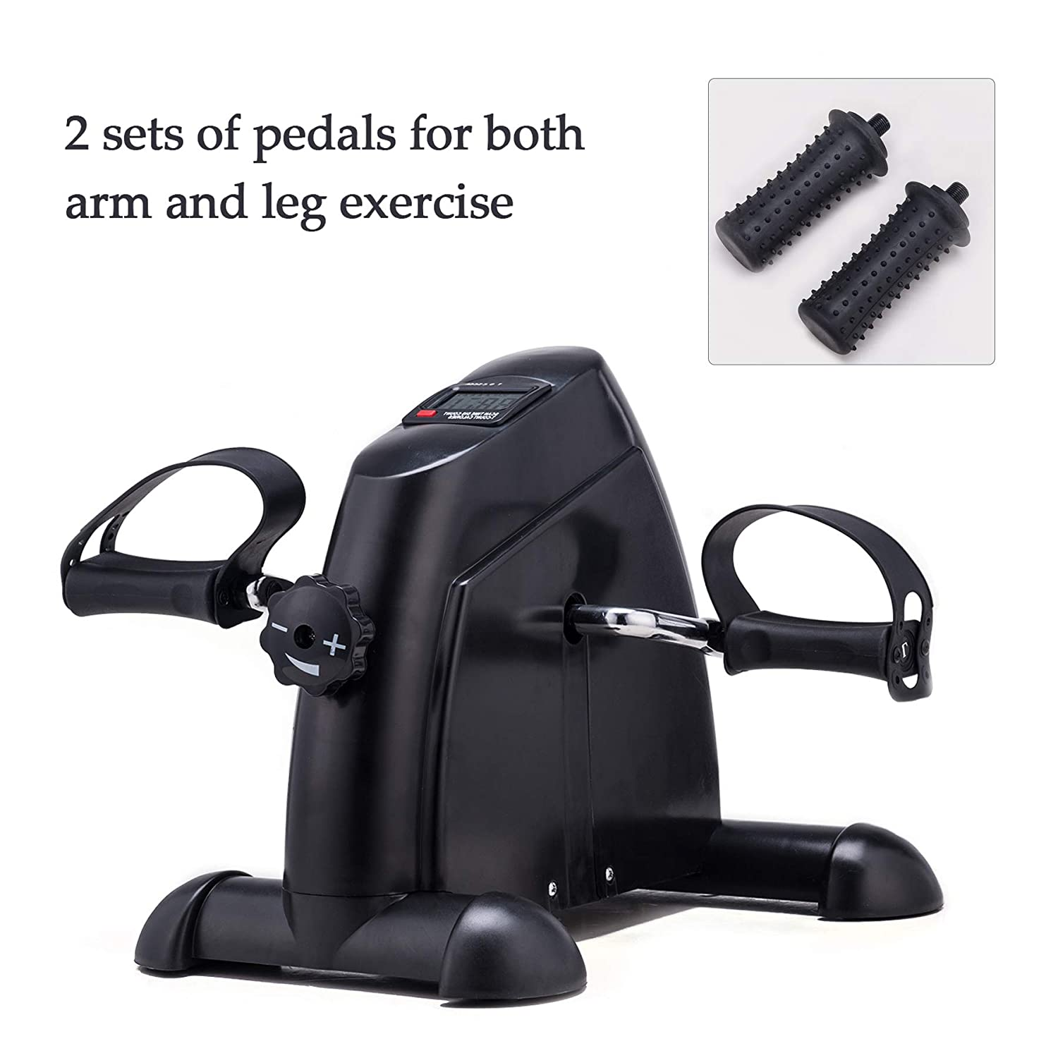Pinty Pedal Exerciser Two Pedals Mini Exercise Bike Portable Under Desk Mini Cycle Bike Legs and Arms Exerciser with LCD Display