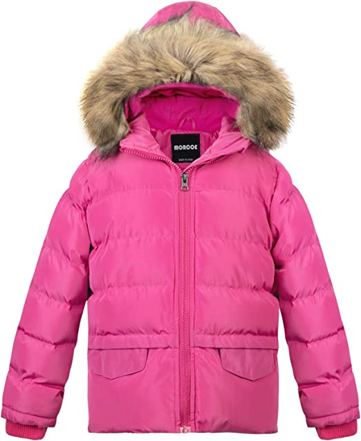 ZSHOW Girls Padded Puffer Jacket Thicken Quilted Warm Hooded Winter Coat