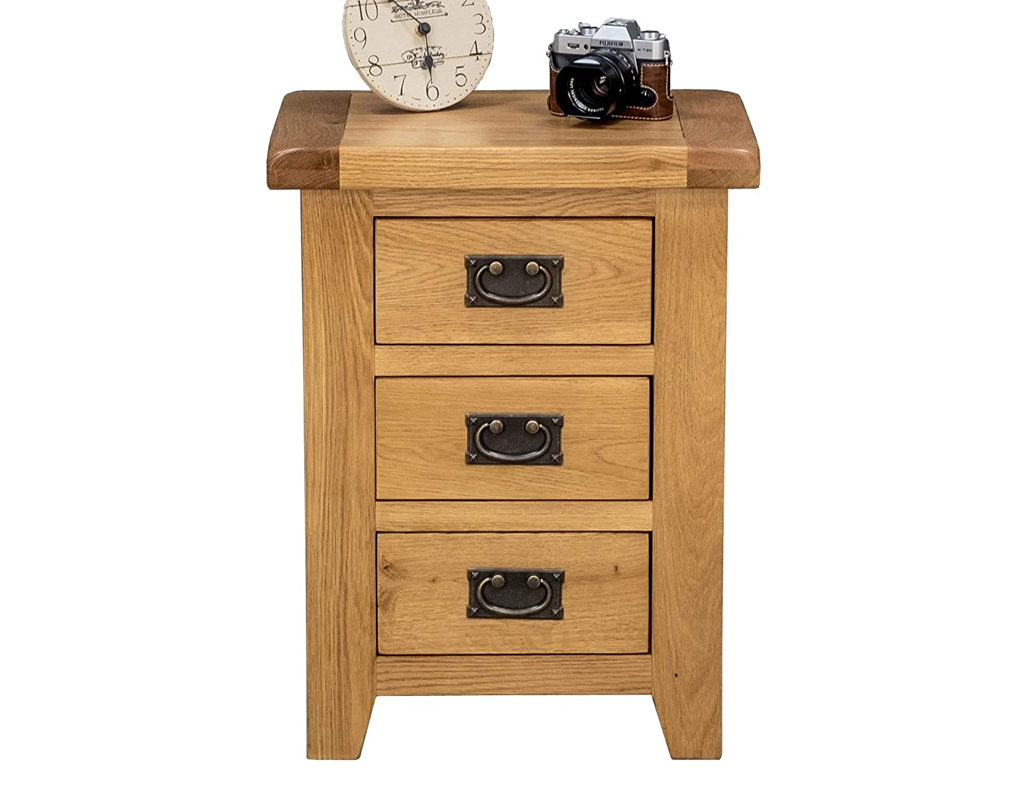 Arklow Oak Bedside Table / 3 Drawer Chest/Bedroom Storage Unit