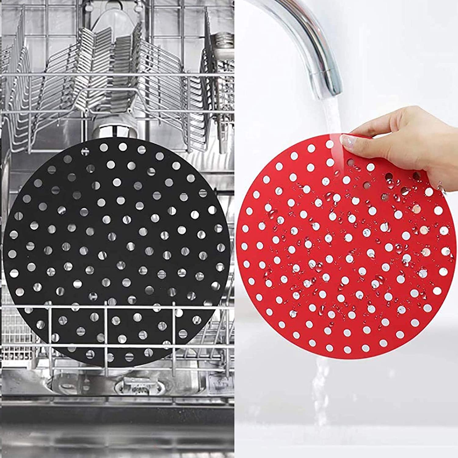 Reusable Air Fryer Liners – 9 inch Round, Non-Stick Silicone Air Fryer Basket Mats | Air Fryer Accessories For Cosori, Ninja, Cozyna, Dash and More | BPA Free in Kitchen