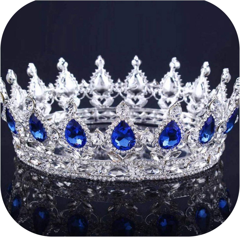 FenyoungTiara de novia barroca de reina y rey para mujer, tocado para novia, boda, tiaras y coronas, accesorios de joyería para el pelo, , , Bañado en plata azul marino.,, ]