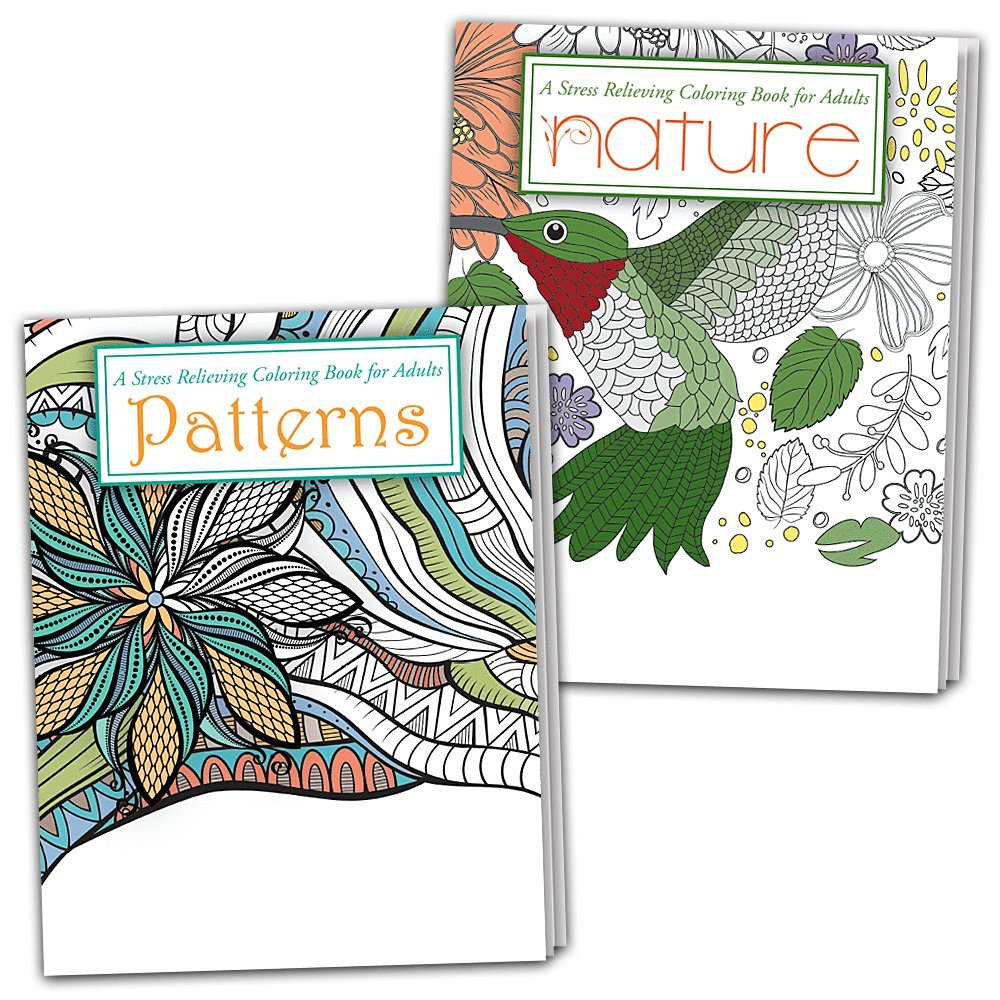 Stress Relieving Coloring Books for Adults (Patterns and Nature) - 2-Pack Safety Magnets