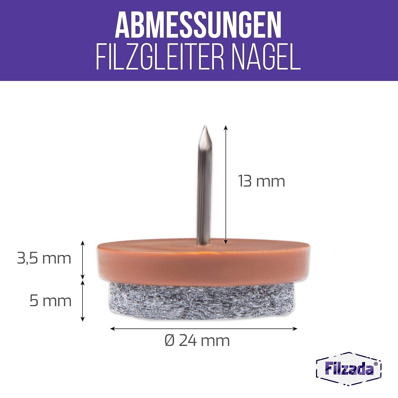 braun Filzada/® 20x Filzgleiter Nagel /Ø 24 mm - Profi M/öbelgleiter//Stuhlgleiter Filz zum Nageln