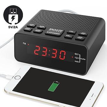 Schön USB Wecker, Digitaler Radiowecker Mit FM Radio, Sleep Timer, Dimmer,  Schlummertaste