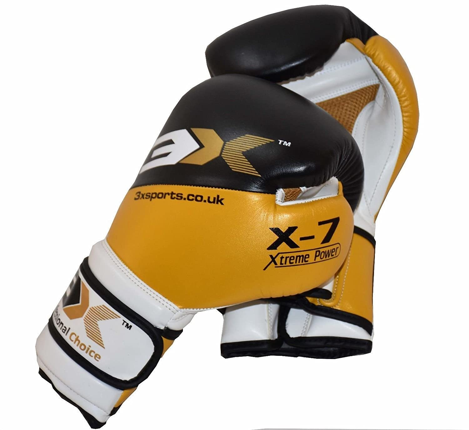 3X Professional Choice Boxing Gloves Sparring Punch Bag Fight Muay, Thai Kick Boxing MMA UFC Martial Arts Training Grappling and Punching Bag Padded Mitt 3X Sports