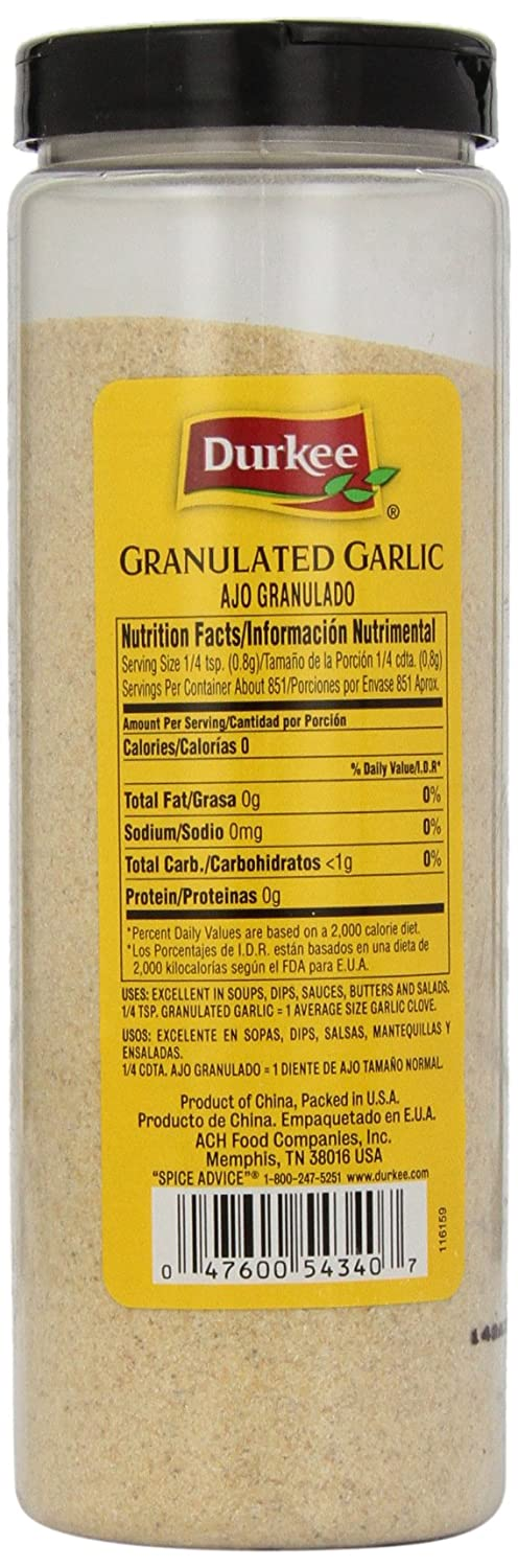 Amazon.com : Durkee Granulated Garlic, 24-Ounce Canister (Pack of 2) : Garlic Spices And Herbs : Grocery & Gourmet Food