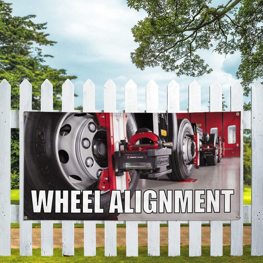 Vinyl Banner Multiple Sizes Wheel Alignment Advertising Printing M Automotive Outdoor Weatherproof Industrial Yard Signs 8 Grommets 48x96Inches