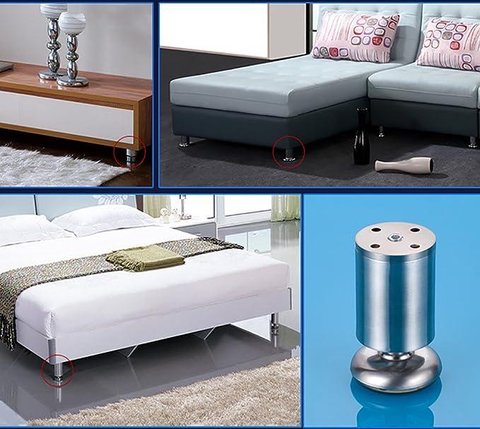 4X Qrity Cabinet Stainless Steel Legs Kitchen Feet Worktop TV Desk Table Legs Furniture Sofa Legs - Rubber Mat - Safe & Silent 50 x 80mm