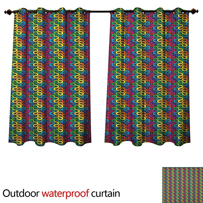 Amazon.com : Abstract Home Patio Outdoor Curtain Rainbow ...