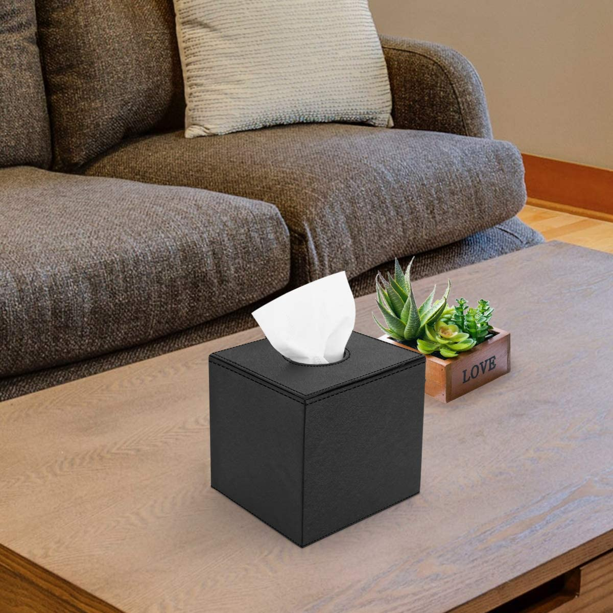 Black Luxspire PU Leather Roll Tissue Holder Home Office Decoration Modern Square Paper Facial Tissue Box Cover Case Dispenser for Bathroom Vanity Counter Tops//Bedroom//Car