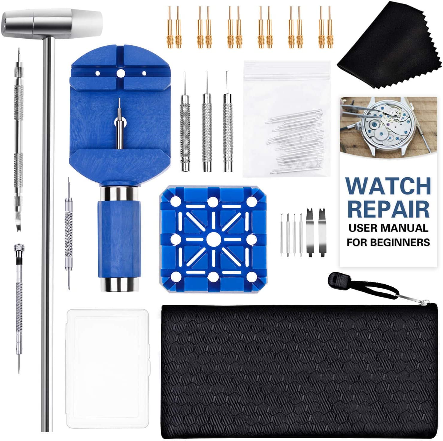 Watch Link Removal Tool Kit, Cridoz 51pcs Watch Repair Kit with Watch Adjustment Tool, Spring Bar Tool, Watch Pins and Other Watch Band Sizing Tools for Watch Resizing and Bracelet Link Remover