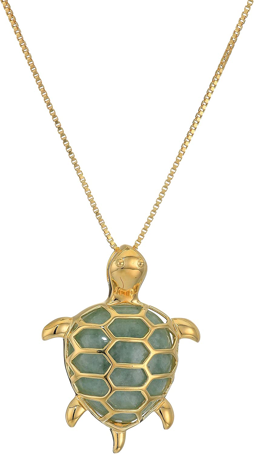 """18k Yellow Gold Plated Sterling Silver Genuine Green Jade Turtle Pendant Necklace, 18"""""""
