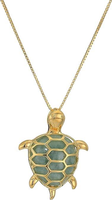 14k Yellow with White Rhodium Two-tone Gold Sea Turtle Pendant