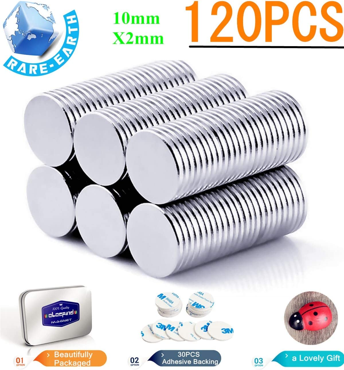 120PCS Round Refrigerator Magnets Disc10mmx2mm with Double Sided Adhesive 10mm 1mm Permanent,Fridge,DIY,Building,Scientific,Craft,Office Magnets