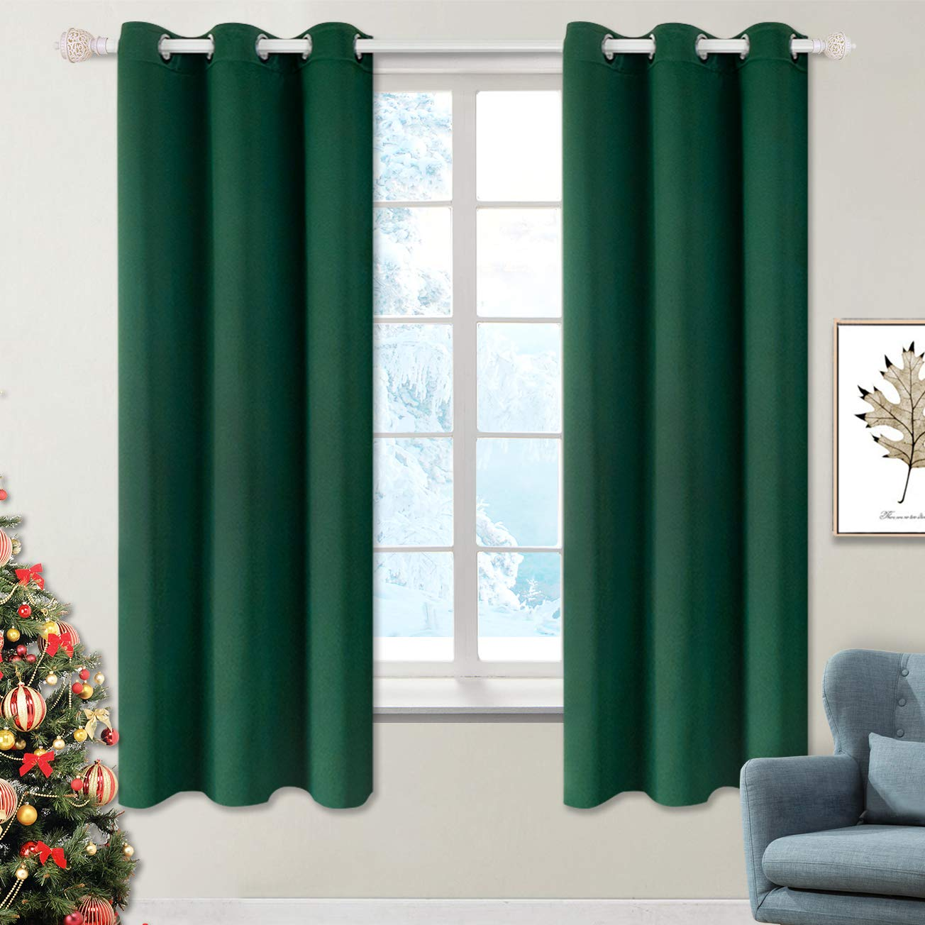 Set of 2 Decorative Curtain Panels (42 x 63 Inch, Jungle Green