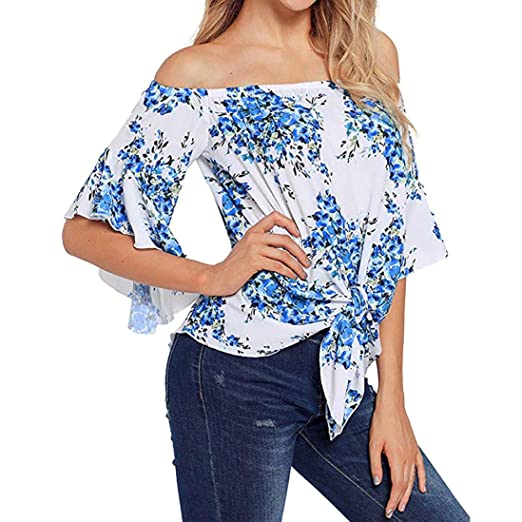 ❤ Blusa de Mujer Fuera del Hombro, 3/4 Bell Print Sleeve Front Tie Knot T Shirt Blusa de Arriba Absolute: Amazon.es: Ropa y accesorios
