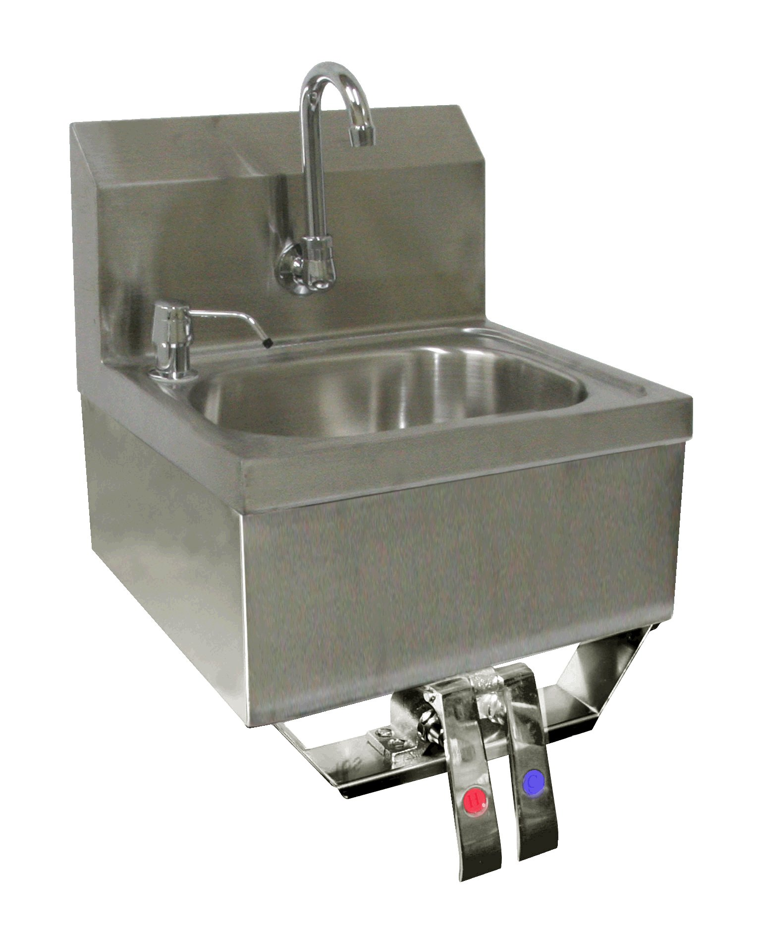 ACE Stainless Steel Wall Mount Hand Sink 16'' x 15'' with Knee Operated Valve and Lead Free Faucet
