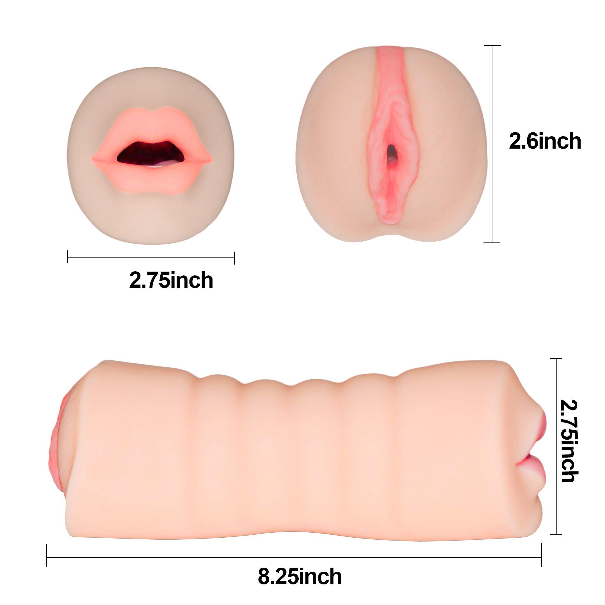 Blowjob Vagina Masturbieren Taschenmuschi Masturbator Lustmuschi mit Realistische Vagina & Mund mit Zunge und Zähne 3D Gesicht Sexpuppen für Männer Muschi Masturbation