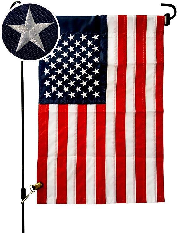 Viekey American Flag Garden Flag 12 5 X 18 Inch Usa Garden Flag Fourth Of July Flags American Flag Embroidered Stars And Sewn Stripes Garden Outdoor Amazon Com