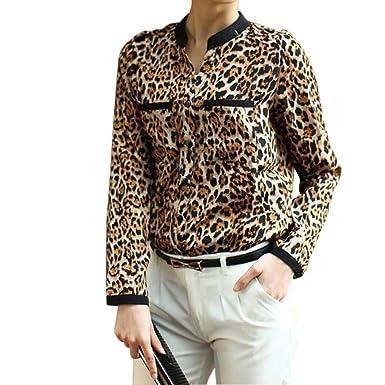 04d8196e0186 LILICAT New Womens Long-Sleeve Leopard Printed Blouse Ladies Chiffon T-Shirt  Tops Ladies
