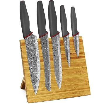 COM-FOUR® Juego de cuchillos de 6 piezas con soporte de imán ...