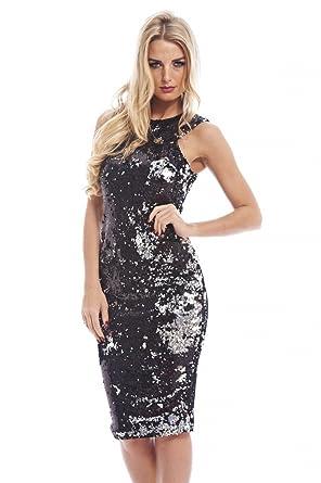 7bfadbc1 AX Paris Women's Two Color Way Sequinblacksilver Dress(Black Silver, ...