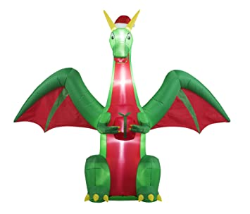 Amazon.com : 8FT Inflatable Christmas Dragon Indoor Outdoor ...