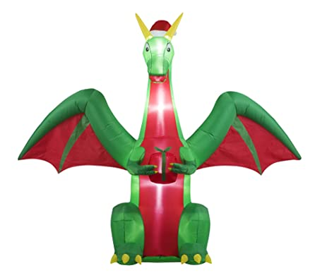 8FT Inflatable Christmas Dragon Indoor Outdoor Christmas Holiday Decorations