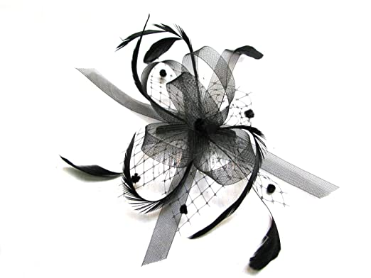 Black stiffened net   feather bow fascinator set on a clear hair ... 9a7934aaf78