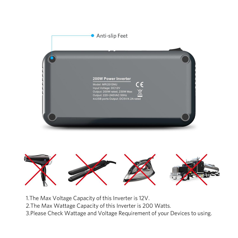 Inverter con 2 Porte USB Adattatore per Accendisigari per Auto BESTEK 300W Inverter da Auto 12V a 220V-230V Convertitore di Potenza per Auto//Camper//Smartphone//Tablet