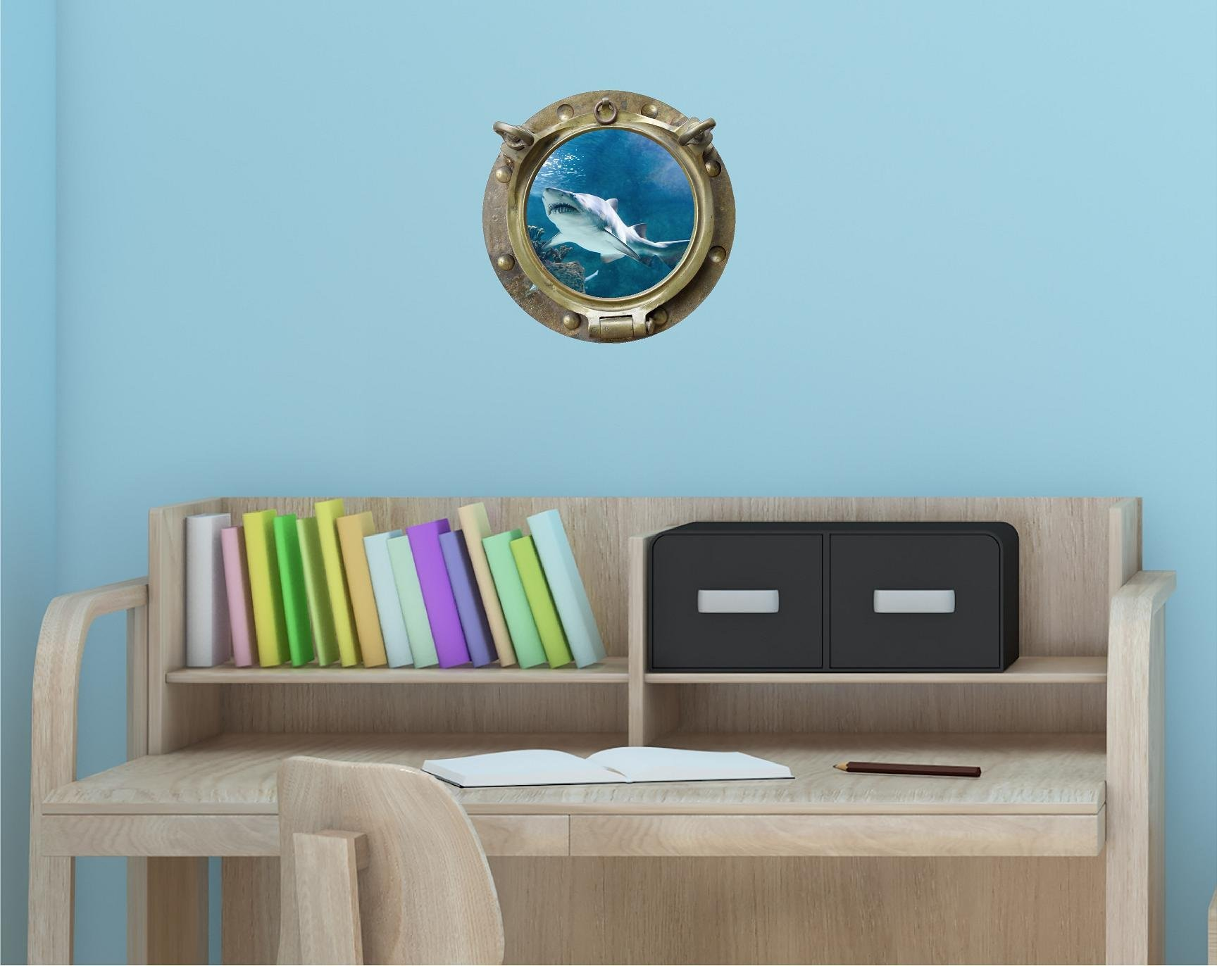 12'' Porthole Sea Window Instant View SHARK #3 ANTIQUE BRONZE Wall Decal Kids Sticker Room Home Art Décor SMALL
