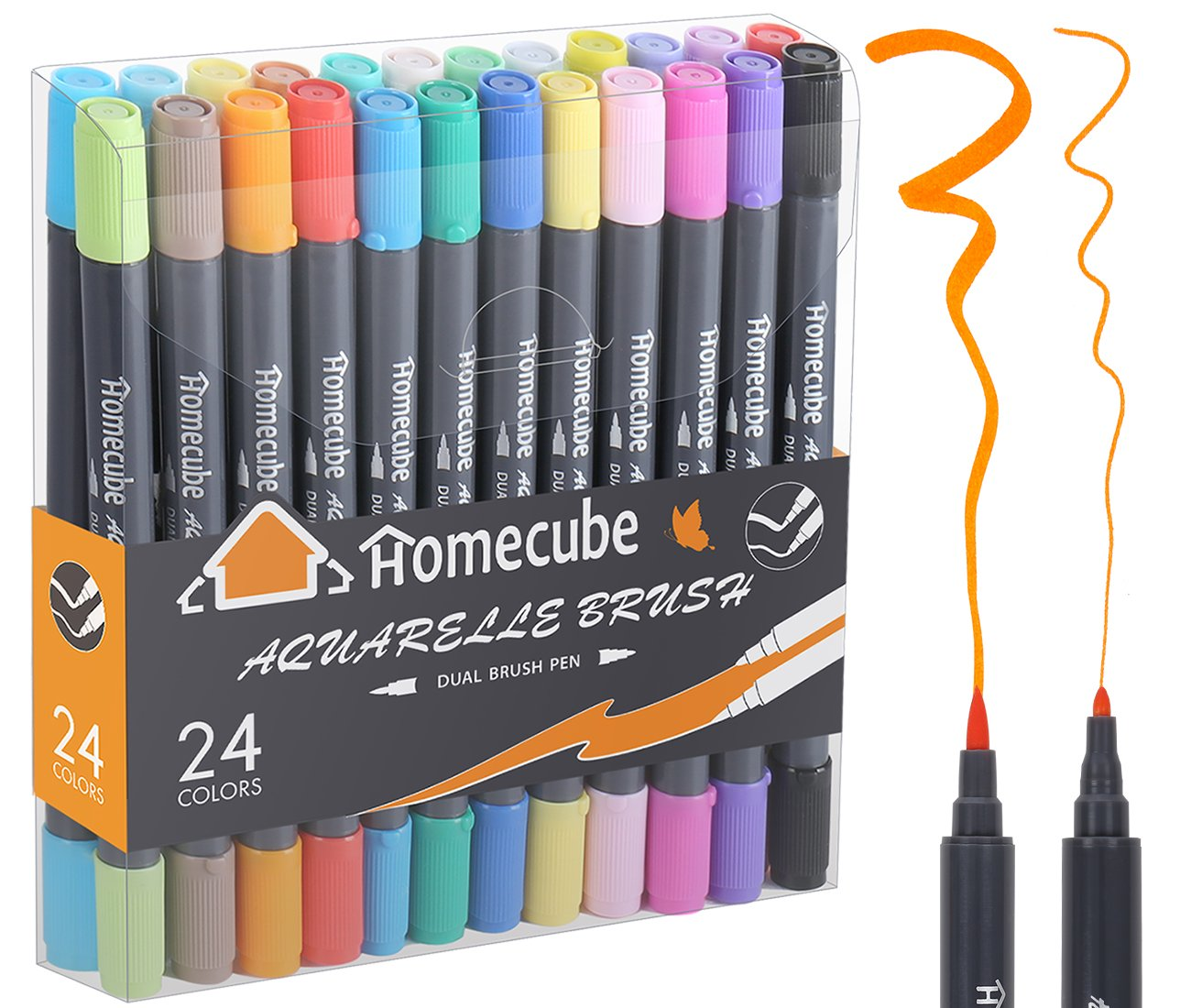 Dual Brush Pens Watercolor Brush Pen, Homecube 12 Assorted Colors Dual Tip Markers Highlighters With Brush Tip(1mm-2mm) and Fine Tip(0.8mm),Ideal for Doodling, Calligraphy, Painting Coloring HCJJ010