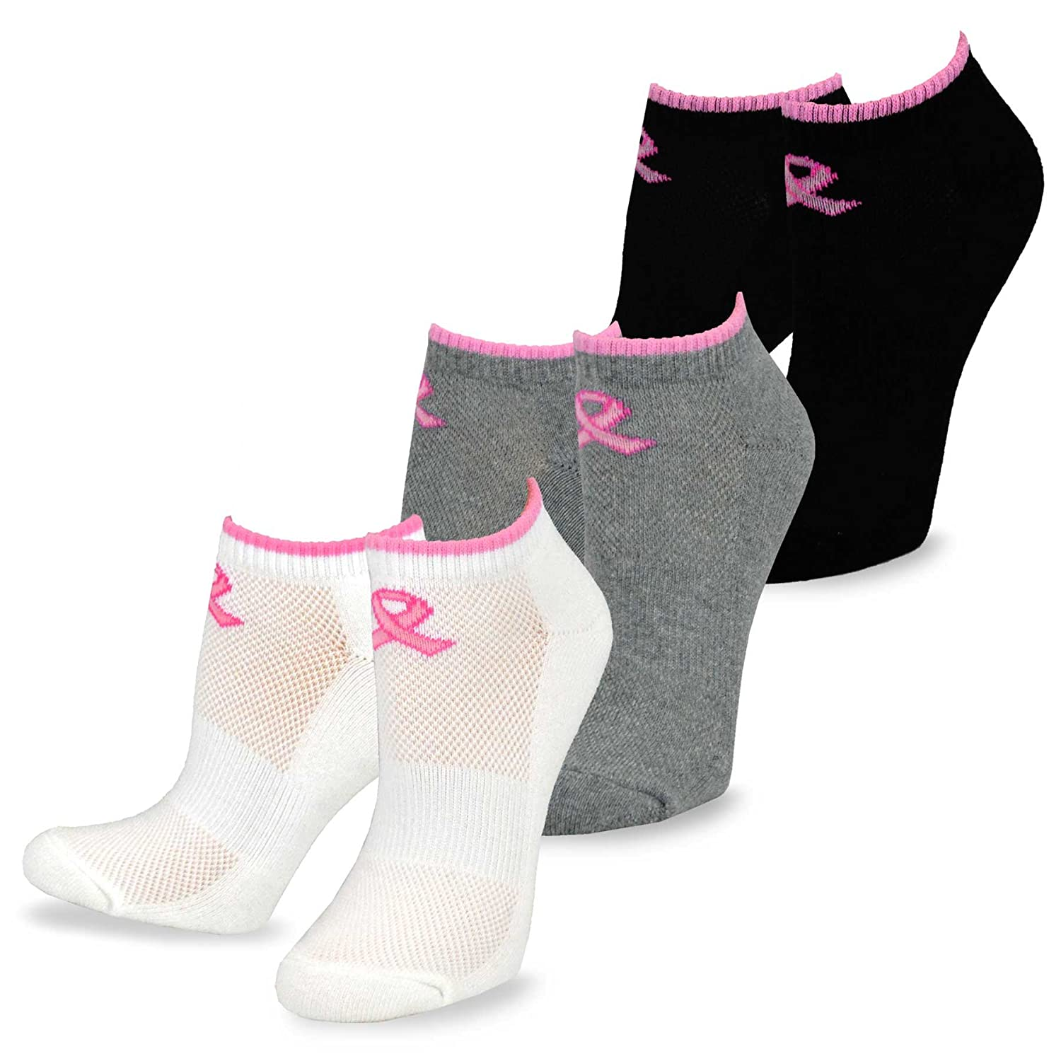 TeeHee Pink Ribbon Breast Cancer Awareness No Show Cushion Socks for Women 3-Pair Pack Soxnet Inc S/11898-3C01