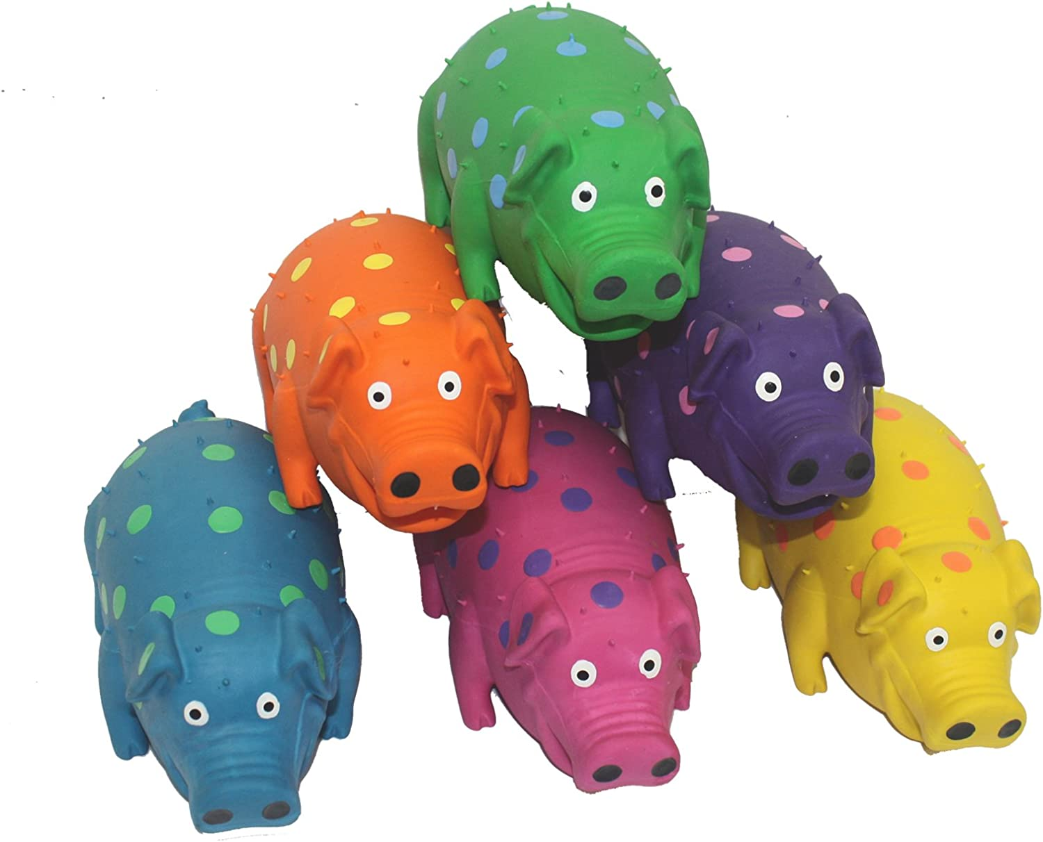 Pet Supplies : Pet Squeak Toys : Multipet's 9-Inch Latex Polka Dot Globlet Pig Dog Toy, Assorted Colors :