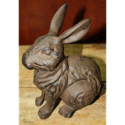 Home Decor Large Cast Iron Easter Bunny Garden Statue Yard Art Home Ranch Decor Rabbit Perfect for Your Farmhouse : Industrial & Scientific